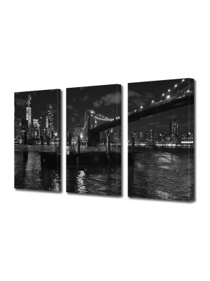 Set Tablouri Multicanvas 3 Piese Podul Brooklyn Alb Negru