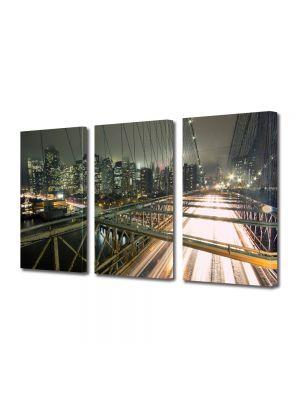 Set Tablouri Multicanvas 3 Piese Pe podul Brooklyn in New York
