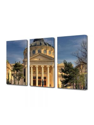 Set Tablouri Multicanvas 3 Piese Ateneul Roman in Bucuresti