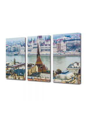 Set Tablouri Multicanvas 3 Piese Dunarea in Budapesta