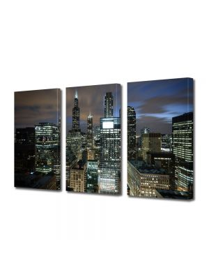 Set Tablouri Multicanvas 3 Piese Chicago USA