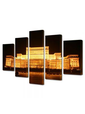 Set Tablouri Multicanvas 5 Piese Palatul Parlamentului Bucuresti