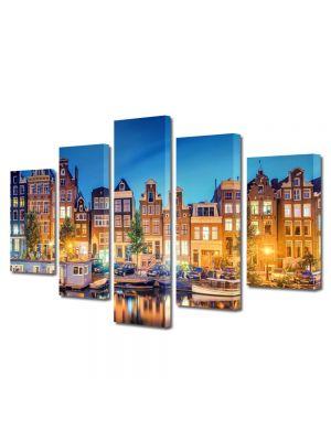 Set Tablouri Multicanvas 5 Piese Lumini in Amsterdam