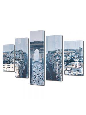 Set Tablouri Multicanvas 5 Piese Arcul de Triumf Paris Franta