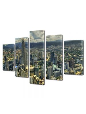 Set Tablouri Multicanvas 5 Piese Kuala Lumpur de sus