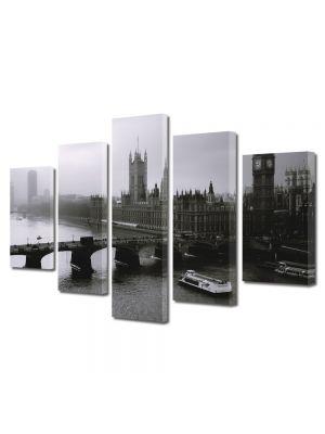 Set Tablouri Multicanvas 5 Piese Londra Alb Negru