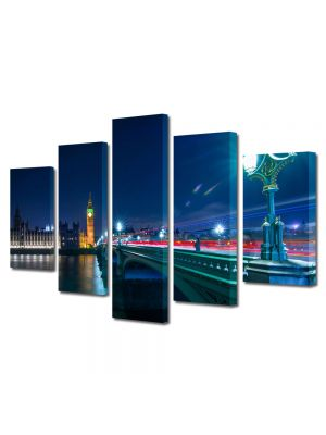 Set Tablouri Multicanvas 5 Piese Pod in Londra 60 x 100 cm - 63% reducere