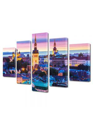 Set Tablouri Multicanvas 5 Piese Luminile orasului la apus