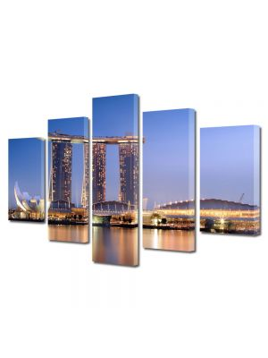 Set Tablouri Multicanvas 5 Piese Port in Singapore