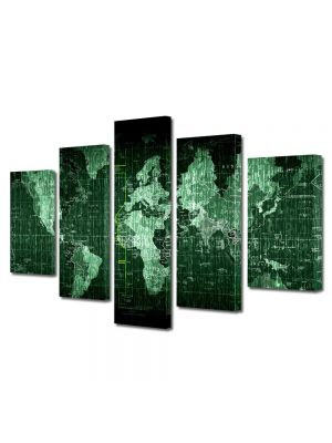 Set Tablouri Multicanvas 5 Piese Harta lumii matrice