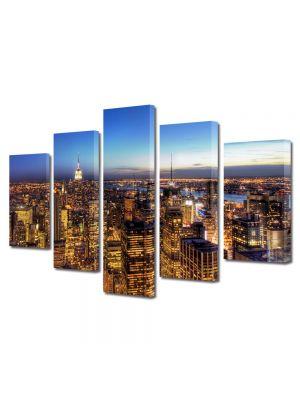 Set Tablouri Multicanvas 5 Piese New York la apus