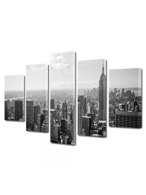 Set Tablouri Multicanvas 5 Piese Orasul New York alb negru