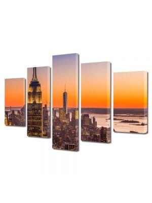 Set Tablouri Multicanvas 5 Piese Plutind peste New York