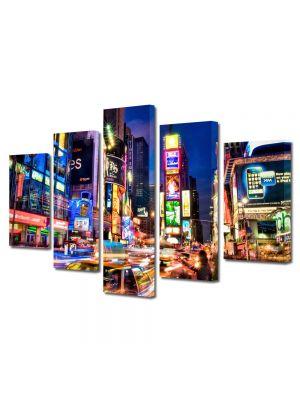 Set Tablouri Multicanvas 5 Piese Noaptea prin New york