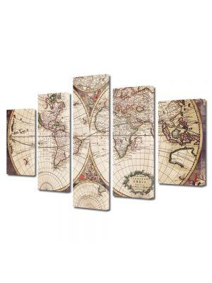 Set Tablouri Multicanvas 5 Piese Harta desfasurata Sepia