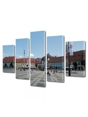 Set Tablouri Multicanvas 5 Piese Orasul Sibiu Piata Mare