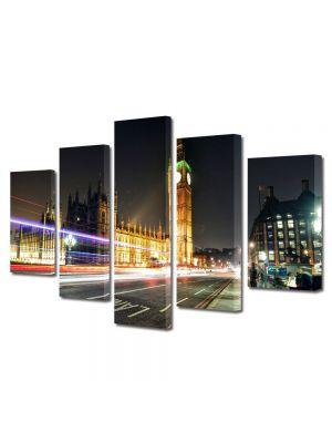 Set Tablouri Multicanvas 5 Piese Big Ben Londra Anglia