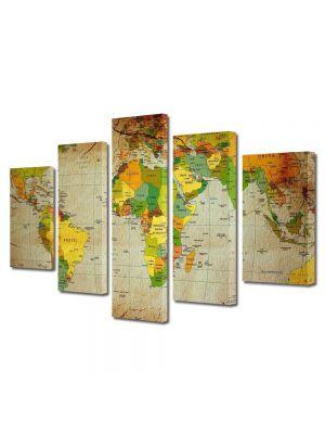 Set Tablouri Multicanvas 5 Piese Harta politica a lumii