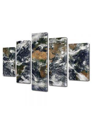 Set Tablouri Multicanvas 5 Piese Harta lumii din satelit