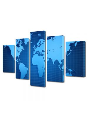 Set Tablouri Multicanvas 5 Piese Harta lumii albastra
