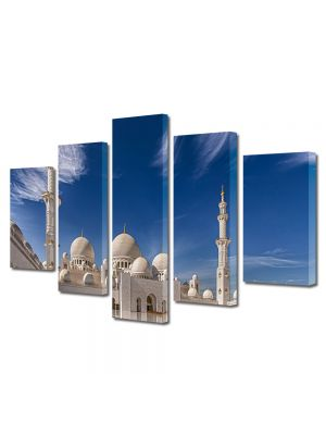 Set Tablouri Multicanvas 5 Piese Moschee in Abu Dhabi