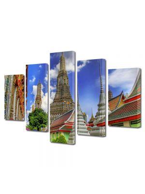 Set Tablouri Multicanvas 5 Piese Templu in Bangkok Tailanda