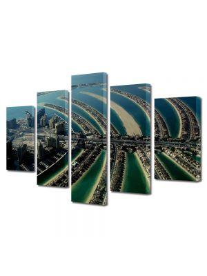 Set Tablouri Multicanvas 5 Piese Insula palmier Dubai