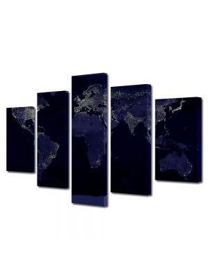 Set Tablouri Multicanvas 5 Piese Harta lumii