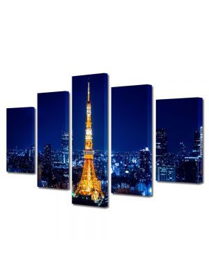 Set Tablouri Multicanvas 5 Piese Turnul Tokyo Noaptea