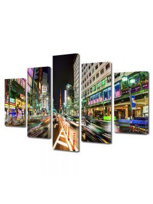 Set Tablouri Multicanvas 5 Piese Strazi in Tokyo