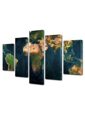 Set Tablouri Multicanvas 5 Piese Harta lumii relief