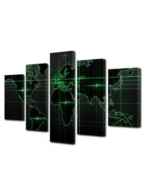 Set Tablouri Multicanvas 5 Piese Harta lumii Verde