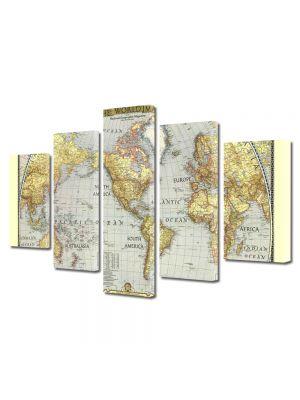 Set Tablouri Multicanvas 5 Piese Harta lumii Veche