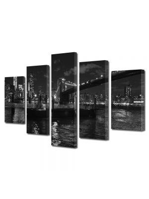 Set Tablouri Multicanvas 5 Piese Podul Brooklyn Alb Negru