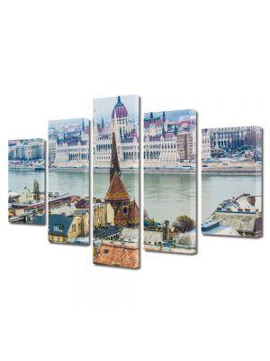 Set Tablouri Multicanvas 5 Piese Dunarea in Budapesta