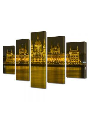 Set Tablouri Multicanvas 5 Piese Parlamentul peste Dunare in Budapesta