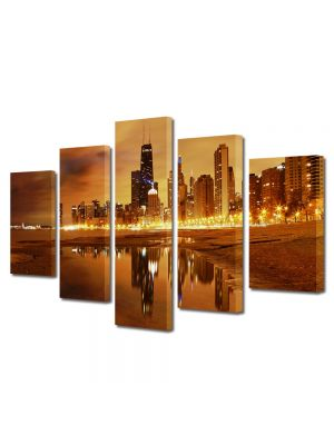 Set Tablouri Multicanvas 5 Piese Apus in Chicago USA