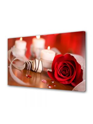 Tablou Canvas Valentine's Day Ziua indragostitilor Trandafir si lumanari