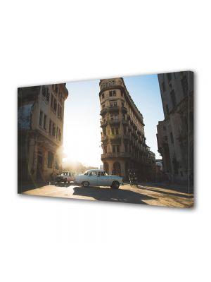 Tablou Canvas Luminos in intuneric VarioView LED Vintage Aspect Retro Cladiri vechi la apus