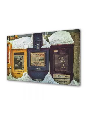 Tablou Canvas Luminos in intuneric VarioView LED Vintage Aspect Retro Cutii postale vintage