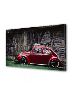 Tablou Canvas Vintage Aspect Retro Beetle rosu