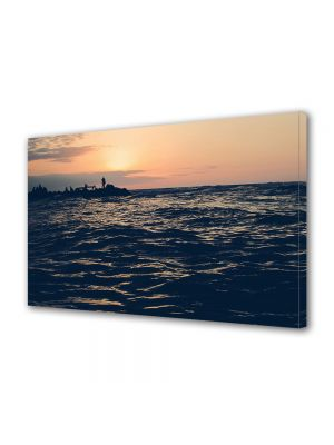 Tablou Canvas Luminos in intuneric VarioView LED Vintage Aspect Retro Apus peste mare