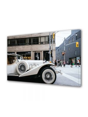 Tablou Canvas Vintage Aspect Retro Masina de lux alba