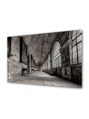 Tablou Canvas Luminos in intuneric VarioView LED Vintage Aspect Retro Coridor in castel