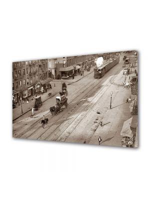Tablou Canvas Luminos in intuneric VarioView LED Vintage Aspect Retro Viata orasului vechi