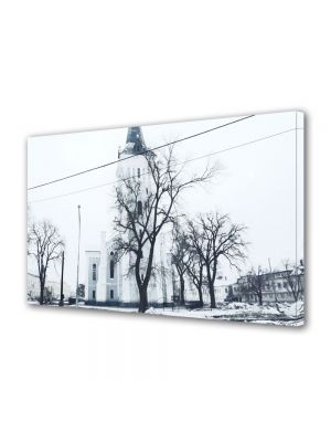 Tablou Canvas Luminos in intuneric VarioView LED Vintage Aspect Retro Copaci in iarna