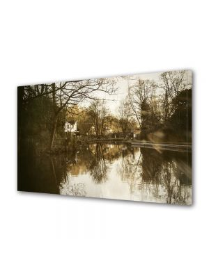 Tablou Canvas Luminos in intuneric VarioView LED Vintage Aspect Retro Casa la malul lacului