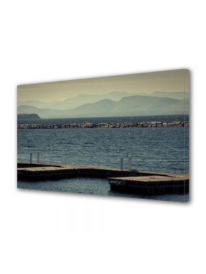 Tablou Canvas Luminos in intuneric VarioView LED Vintage Aspect Retro Vedere spre lac
