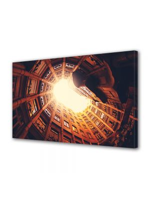 Tablou Canvas Luminos in intuneric VarioView LED Vintage Aspect Retro Vedere din Barcelona