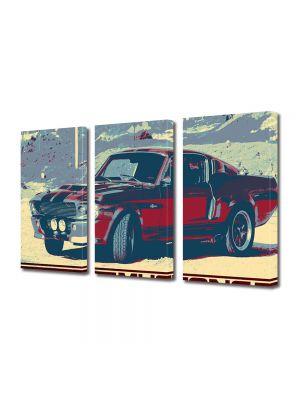 Set Tablouri Muilticanvas 3 Piese Vintage Aspect Retro Mustang